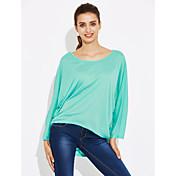 Mujer Simple Casual/Diario Primavera Camiseta,Escote Redondo Estampado Manga Corta Algodón