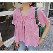 Mujer Simple Casual/Diario Camiseta,Escote Cuadrado A Cuadros Manga Corta Algodón