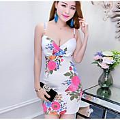 Mujer Corte Bodycon Vestido Noche Un Color Floral Estampado Con Tirantes Mini Sin Mangas Algodón Poliéster Verano Tiro Medio Microelástico