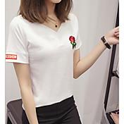 Mujer Simple Casual/Diario Verano Camiseta,Escote en Pico Bordado Manga Corta Algodón Medio