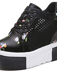 Feminino Sapatos Couro Ecológico Verão Conforto Tênis Creepers Ponta Redonda Cadarço Para Casual Branco Preto