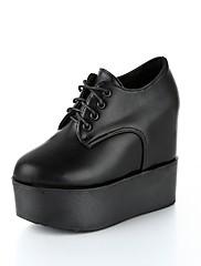 Feminino Sapatos Couro Ecológico Outono Conforto Oxfords Creepers Ponta Redonda Cadarço Para Casual Branco Preto Vinho