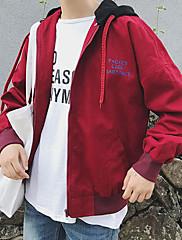 Masculino Jaqueta Casual Simples Outono,Sólido Estampado Padrão Algodão Com Capuz Manga Longa