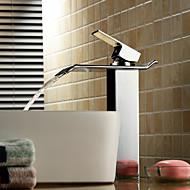 Nykyaikainen Pesuallas Vesiputous with  Keraaminen venttiili Yksi reikä Yksi kahva yksi reikä for  Kromi , Kylpyhuone Sink hana
