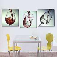 moderni tyyli viinilasi seinäkello kankaalle 3kpl