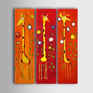 Pintados à mão Desenho Animado / Animal 3 Painéis Tela Pintura a Óleo For Decoração para casa