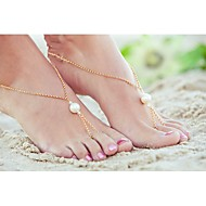 shixin®古典的な真珠の合金裸足サンダル(金色、銀色)(1個)