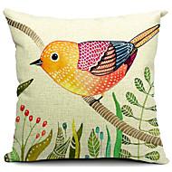 landet nydelig fugl bomull / lin dekorativt putetrekk