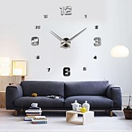 "39""W DIY 3D Mirror Small Numbers Acrylic Sticker Wall Clock"