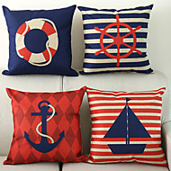 Conjunto de 4 náutico padrão de algodão / linho fronha decorativo