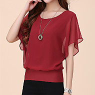 Femei Rotund Tricou Plus SizeMată Manșon scurt Vară-Albastru / Roșu / Alb / Negru / Violet Subțire Poliester