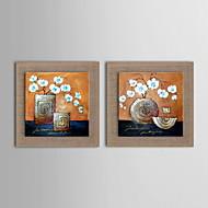 pintura moderna mão flores abstratas óleo pintado de linho natural com esticada enquadrado - conjunto de 2