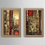 pintura a óleo decoração mão abstrata pintada de linho natural com esticada enquadrado - conjunto de 2