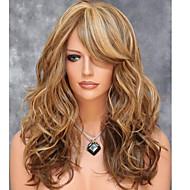 Γυναικείο Συνθετικές Περούκες Χωρίς κάλυμμα Μεσαίο Κυματιστά Καφέ Μαλλιά μπαλαγιάζ Πλευρικό μέρος Με αφέλειες Φυσική περούκα φορεσιά
