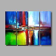 Pintados à mão Abstrato Horizontal Panorâmica,Moderno 4 Painéis Tela Pintura a Óleo For Decoração para casa