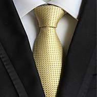 Light Golden Checked JACQUARD WOVEN Men's Tie Necktie