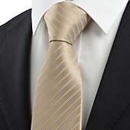 Striped Wooden Ivory Apricot JACQUARD Men Tie Necktie Formal Wedding Gift KT0001