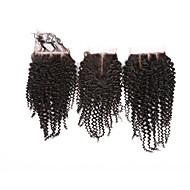 08inch-20inch Luonnollisen musta (#2) Full Lace / Käsinkudottu Kinky Curly Aitohius Päättäminen Medium Brown Sveitsiläinen pitsi 20g-60g