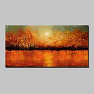 Kézzel festett Absztrakt Landscape Virágos / Botanikus Absztrakt tájkép Vízszintes,Modern Egy elem Vászon Hang festett olajfestmény For