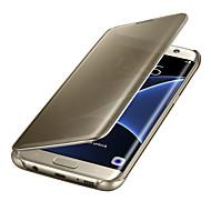 Mert Samsung Galaxy S7 Edge Automatikus készenlét/ébresztés Galvanizálás Tükör Flip Átlátszó Case Teljes védelem Case Egyszínű PC mert