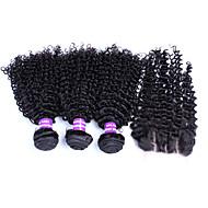 Hår Veft Med Lukker Brasiliansk hår Løse bølger 12 måneder 4 deler hår vever