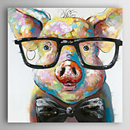 יד בעלי חי ציור צבוע שמן חזיר חכם עם מסגרת מתוחה