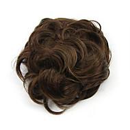 excêntricas Enrolado Castanho Hepburn chignons perucas de cabelo humano sem capa 2/30