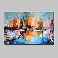 Kézzel festett Absztrakt tájkép Vízszintes,Modern Egy elem Vászon Hang festett olajfestmény For lakberendezési