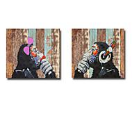 Handgeschilderde Dieren Olie schilderijen,Modern Twee panelen Canvas Hang-geschilderd olieverfschilderij For Huisdecoratie