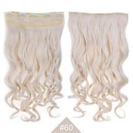 """붙임 머리에 금발 합성 클립 24 """"(60cm) # 60 120g 긴 물결 모양의 곱슬 5clips resistent 머리"""