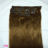 """실제 인간의 머리카락 확장 8PCS / 80g 18 """"# 6 클립"""