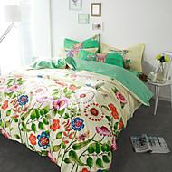 Virágos Paplan Cover állítja 4 darab Pamut Minta Fonálfestett Pamut 224x234 cm 1 db paplanhuzat / 2 db. párnahuzat / 1 db alátétlepedő