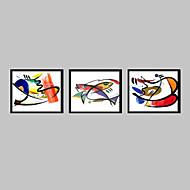Abstrato / Animal Quadros Emoldurados / Conjunto Emoldurado Wall Art,PVC Preto Sem Cartolina de Passepartout com frame Wall Art