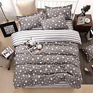 bedtoppings tješitelj duvet poplun cover 4pcs postaviti queen size stan list jastučnicu sive zvijezde ispisuje mikrovlakana