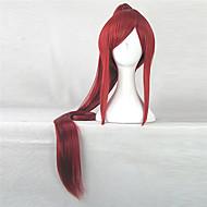 Γυναικείο Συνθετικές Περούκες Χωρίς κάλυμμα Ίσια Κόκκινο Με αλογοουρά Περούκα άνιμε Απόκριες Περούκα Καρναβάλι περούκα φορεσιά περούκες