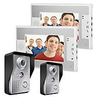 Mountainone 7 polegadas video porteiro telefone campainha intercom kit 2-camera 2-monitor visão noturna