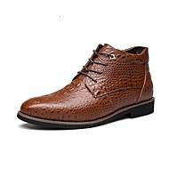 Herre Støvler Komfort Trendy støvler Lær Høst Vinter Avslappet Gange Komfort Trendy støvler Snøring Lav hæl Svart Brun Under 2,5 cm