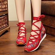 Feminino Rasos Conforto Alpargata Sapatos bordados Tecido Primavera Verão Outono Inverno Atlético CasualConforto Alpargata Sapatos