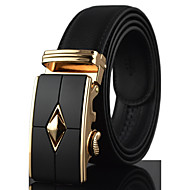 Men's High Quality Gold / Silver Automatic Buckle Waist Belt Work/Casual Alloy/Leather All Seasons