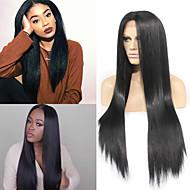 Žene Sintetičke perike Lace Front Dug Ravna Crna Prirodna linija za kosu Srednji dio Prirodna perika Kostim perika