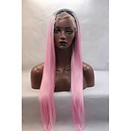 Naisten Synteettiset peruukit Lace Front Suora Pinkki Luonnollinen hiusviiva Luonnollinen peruukki Halloween Peruukki Carnival Peruukki