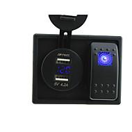 dc 12v / 24v LED-Digital-4.2a Dual USB Voltmeter Ladebuchse mit Wippschalter Prüfkabeln und Gehäusehalter
