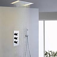 Moderne Dusjsystem LED Regndusj Hånddusj Inkludert with  Keramisk Ventil Tre Håndtak tre hull for  Krom , Dusjkran