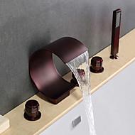 現代風 バスタブとシャワー 滝状吐水タイプ ワイドspary ハンドシャワーは含まれている with  セラミックバルブ 3つのハンドル5つの穴 for  オイルブロンズ , 浴槽用水栓