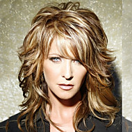 Mulher Perucas de cabelo capless do cabelo humano Marrom Médio Ondulado Natural Corte em Camadas Com Franjas Parte lateral