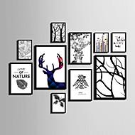 Abstrakti Kukkakuvio/Kasvitiede Eläin Kehystetty kanvaasi Kehystetty setti Wall Art,PVC materiaali Maalattu Ei taustalevyä Frame For