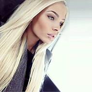 Žene Sintetičke perike Lace Front Dug Ravna Bleach Blonde Prirodna linija za kosu Srednji dio Prirodna perika Halloween paru Karnevalska