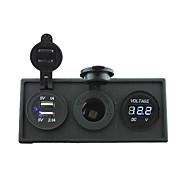 12V / 24V Strom charger3.1a USB-Anschluss und 12V Voltmeters Messgerät mit Tafelgehäuse Halter für LKW rv Auto Boot