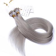 가장 10A 급 인기 회색 마이크로 루프 링 비즈 붙임 머리 부드러운 직선 100g 브라질 처녀 인간의 머리카락 머리 띠 14~28인치