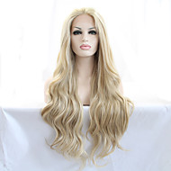 Naisten Synteettiset peruukit Lace Front Pitkä Luonnolliset aaltoilevat Vaaleahiuksisuus Luonnollinen hiusviiva Luonnollinen peruukki